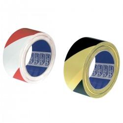 Nastro Segnalinee PVC - bianco/rosso - giallo/nero - 13µm - 100 mm x 33mt