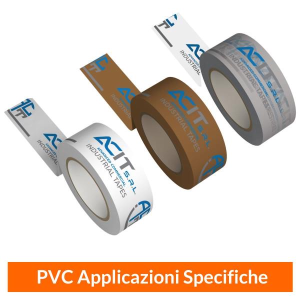 Nastro Adesivo PVC su Fondo Bianco, Trasparente o Marrone