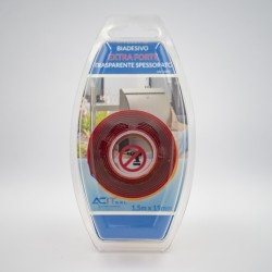 Blister Biadesivo Extra Forte Trasparente Spessorato - 1,5mt x 19mm